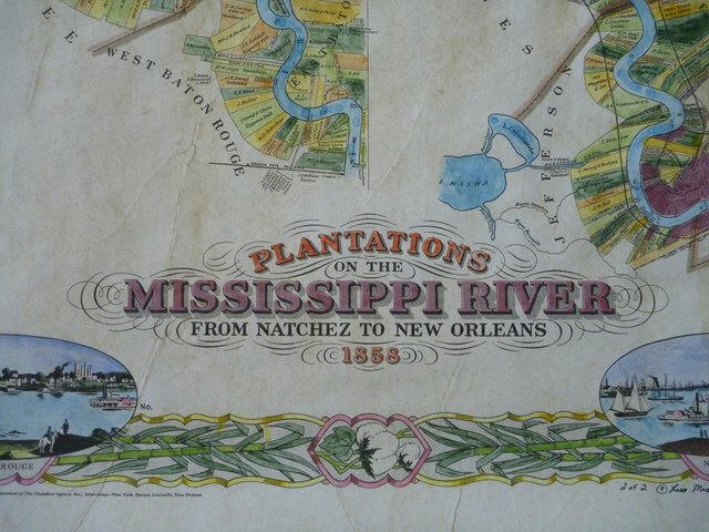 Map Of Louisiana Plantations.Details For The 1858 Map Of Plantation Along The Lower Mississippi River