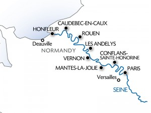 Seine River cruise map: Honfleur to Paris