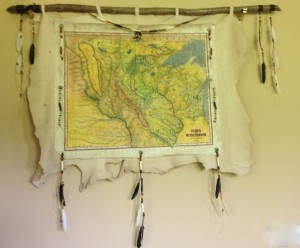 chief map on deerskin
